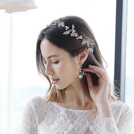 nouveaux accessoires de mariage de coiffure de mariée de diamant de feuille d'alliage de mode fait à la main NHHS256500's discount tags