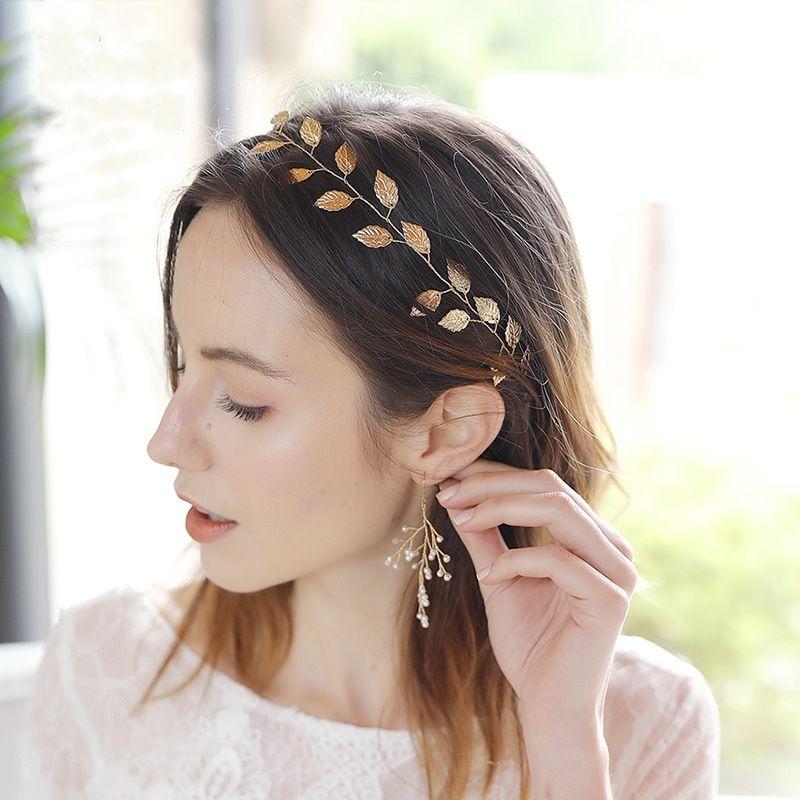 Fashion simple bridal jewelry models wedding headdress handmade golden leaf headband NHHS256498