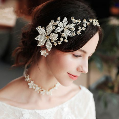 new exaggerated bridal beautiful handmade beaded floral wedding headband NHHS256496's discount tags