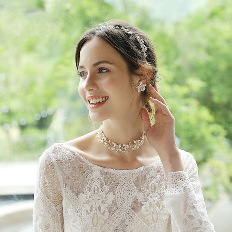 Fashion bridal jewelry alloy beaded flower hairband earring set NHHS256497's discount tags