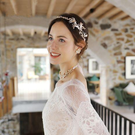 nouvelle mariée en alliage feuille incrusté de diamant perle naturelle beau bandeau de mariage NHHS256494's discount tags