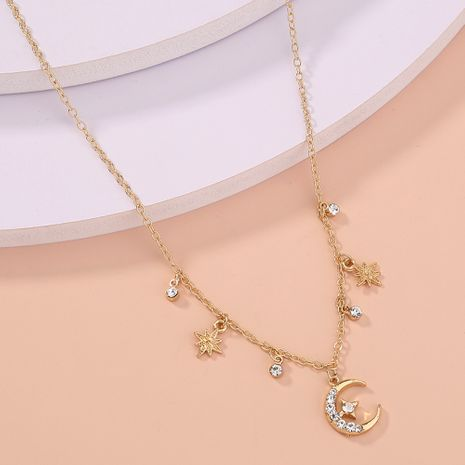 Korea fashionable single-layer diamond star moon tassel multi-element alloy clavicle chain necklace hot sale  NHAN256896's discount tags