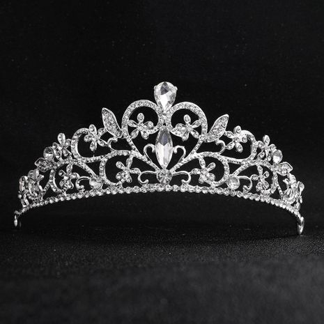 Baroque style vintage round bridal crown alloy diamond-studded bridal wedding headdress wholesale NHHS256912's discount tags