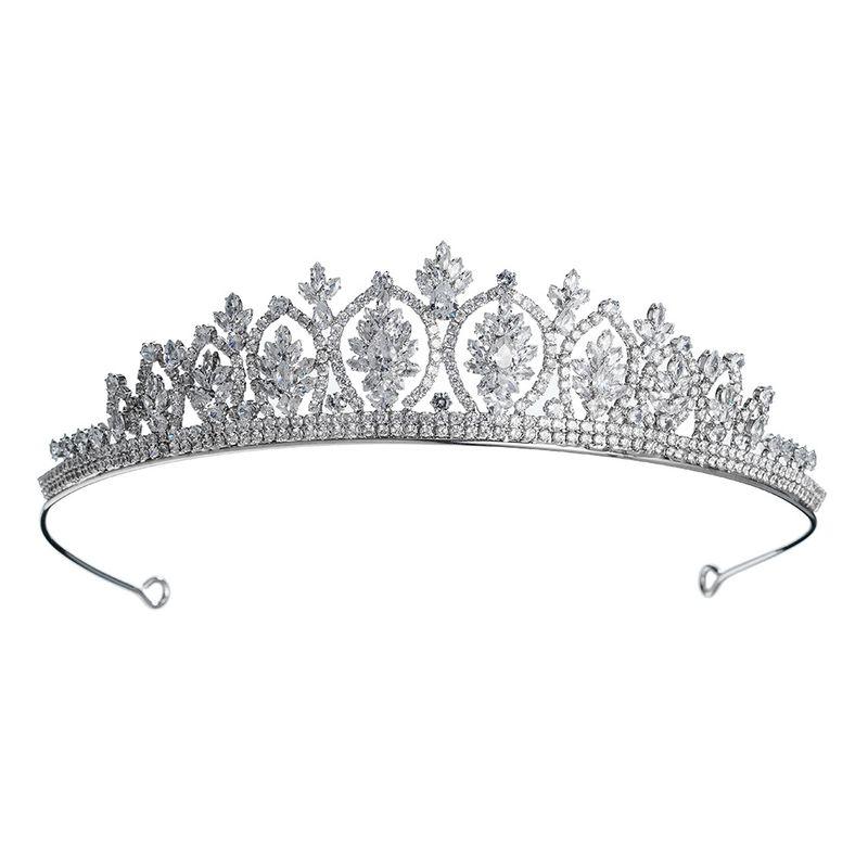 Moda nueva corona diadema de diamantes corona de circonio tocado de novia joyera de boda NHHS256916