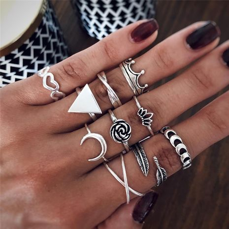 new crown retro carved star and moon black gem symbol ten-piece ring set wholesale NHBQ256919's discount tags