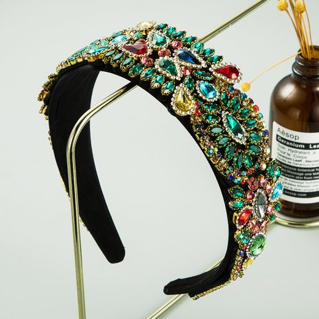 fashion inlaid colored rhinestones cloth baroque style wide  headband wholesale NHLN256965's discount tags