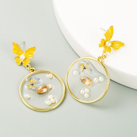 Korean new fashion butterfly flower silver needle inlaid rhinestone pearl earrings wholesale NHLN256967's discount tags