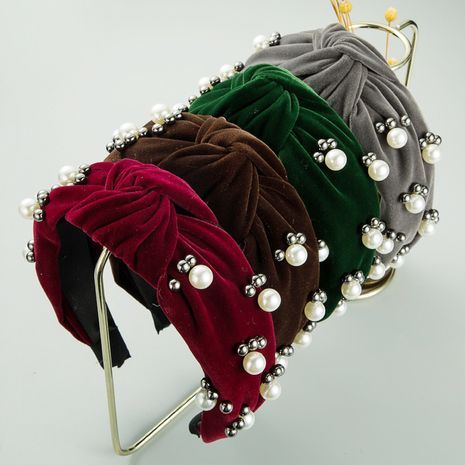 Korea's new high-end flannel simple solid color knotted hairband  NHLN256979's discount tags
