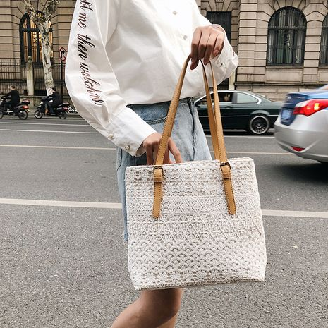 large-capacity lace canvas new wave one-shoulder portable tote bag wholesale NHLH256992's discount tags