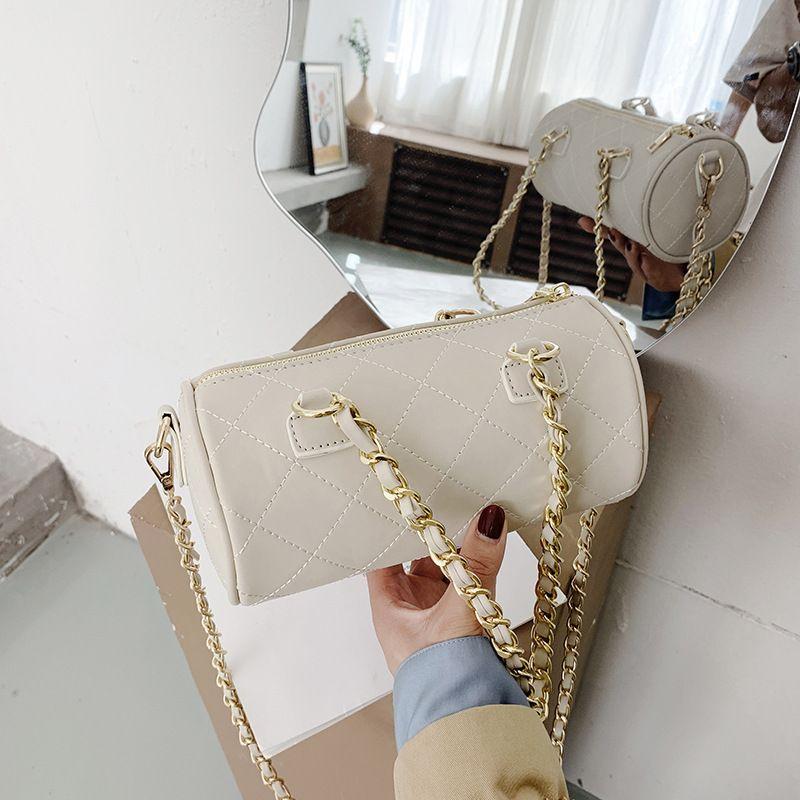 new trendy fashion rhombus chain diagonal shoulder cylinder pillow bag  NHJZ257105