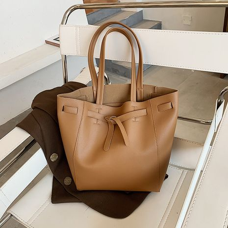 nouveau sac à bandoulière simple de grande capacité en cuir de vache fourre-tout NHJZ257130's discount tags