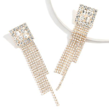 Boucles d'oreilles à pampilles longues en alliage carré en alliage carré avec strass et strass super flash NHJE257136's discount tags