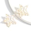 Korea  simple  alloy inlaid pearl resin flower fivepointed star earrings  NHJE257137