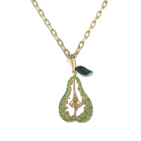 popular alloy diamond pear-shaped fashion avocado fruit necklace wholesale NHJQ257163's discount tags