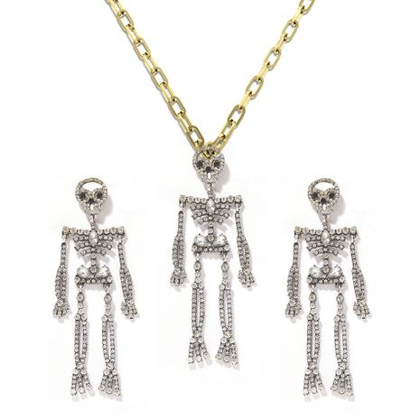 dark skeleton punk Halloween earrings necklace two-piece set wholesale NHJQ257168's discount tags