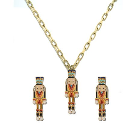 cartoon characters alloy dripping oil creative new chic earrings necklace set wholesale NHJQ257169's discount tags