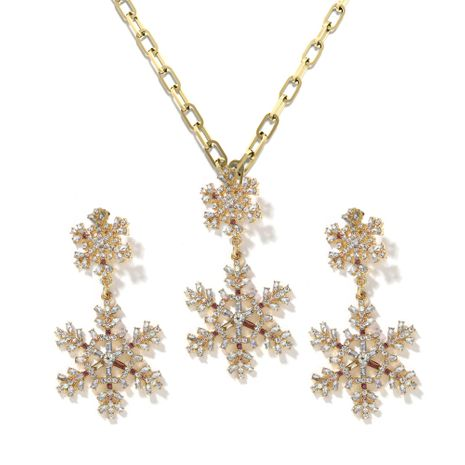 hot selling snowflake diamond Christmas flower necklace pendant earring set wholesale NHJQ257171's discount tags