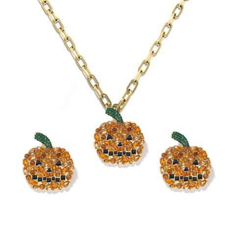 Halloween small pumpkin pendants simple alloy earrings necklaces set wholesale NHJQ257174's discount tags