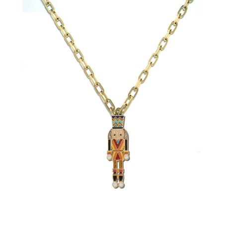 popular Cuban cartoon character alloy dripping oil creative new necklace wholesale NHJQ257183's discount tags
