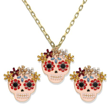 Halloween clown ghost alloy diamond creative earrings necklace set wholesale NHJQ257184's discount tags