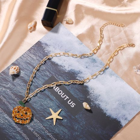 simple alloy diamond creative new  necklace wholesale NHJQ257185's discount tags