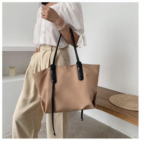 large-capacity shoulder bag fashion nylon canvas cloth soft leather tote bag NHGA257194's discount tags