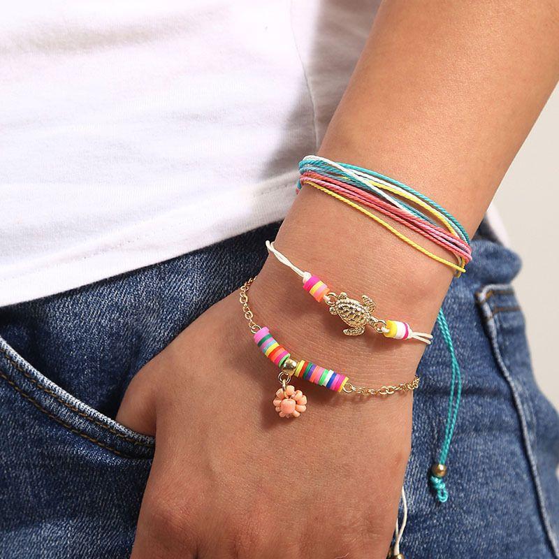 Bohemian handmade rice beads multilayer bracelet creative jewelry set wholesale NHLA257209