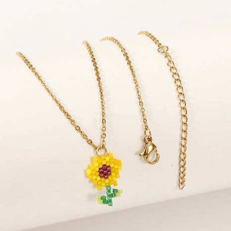 Korean cute hand-woven sunflower necklace  wholesale NHLA257210's discount tags