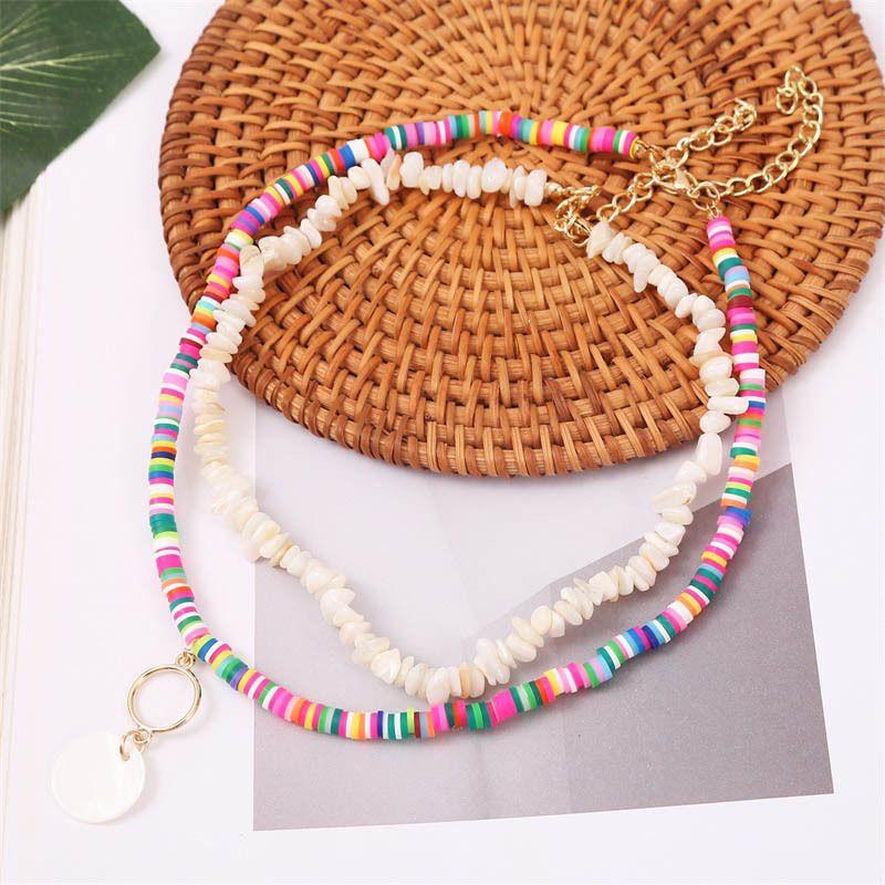 Bohemian soft ceramic gravel multilayer creative shell beaded pendant necklace wholesale NHLA257211