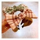 Korean  retro college style British plaid stitching bow headband  NHHD257223