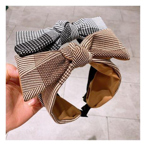 Korean fashion  retro  cashmere lattice bow tie color matching headband  NHHD257225's discount tags