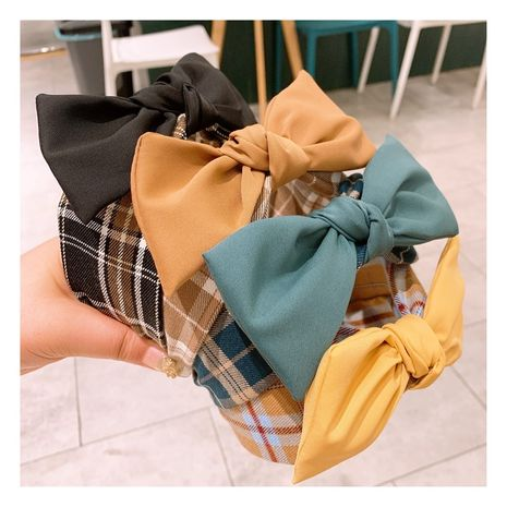 Korean   all-match retro college plaid big bow headband NHHD257231's discount tags