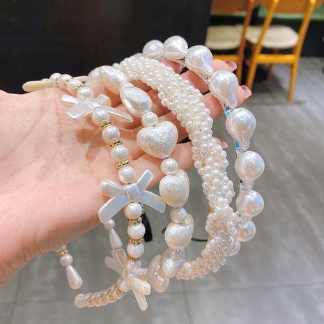 nueva diadema de presión antideslizante salvaje con placa de perlas NHCQ257240's discount tags