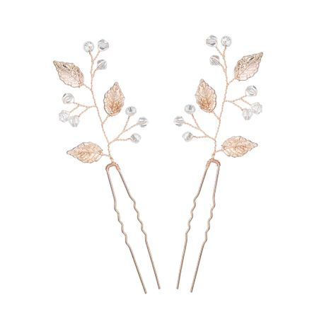 Korean simple  beautiful bridal  alloy leaf pearl handmade hairpin  NHHS257279's discount tags
