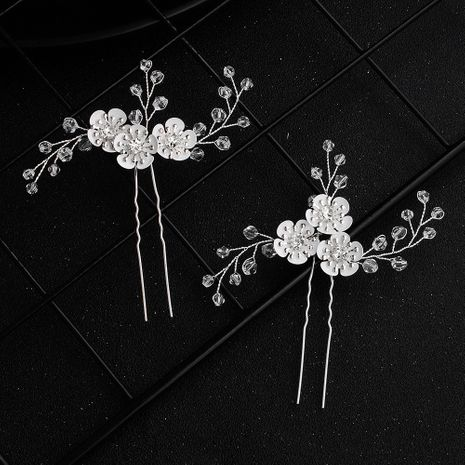 New Korean  beautiful antique hand-woven crystal flowers bridal hairpin NHHS257282's discount tags