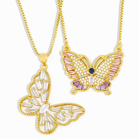 Butterfly slightly inlaid zircon necklace simple clavicle chain wholesale NHAS257292's discount tags