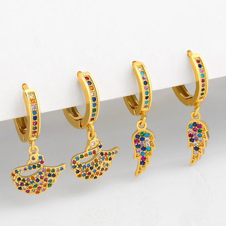 Fashion colored zircon temperament swan earrings NHAS257299's discount tags