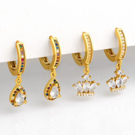 Fashion creative crown diamond micro-inlaid color zircon  earrings NHAS257300's discount tags