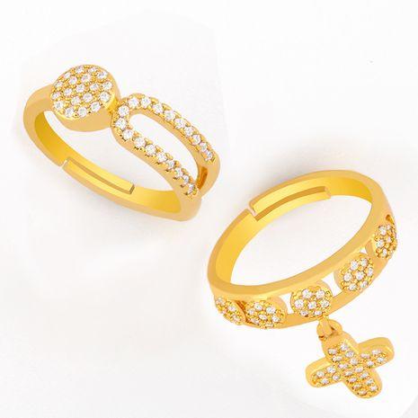 creative cross zircon open ring wholesale  NHAS257303's discount tags