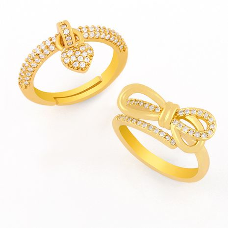 Hot selling Bowknot simple fashion micro-inlaid zircon love ring  NHAS257305's discount tags