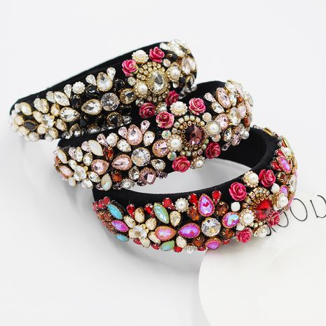 Hot selling fashion Rhinestone Luxury Pearl Sponge headband wholesale NHWJ257314's discount tags
