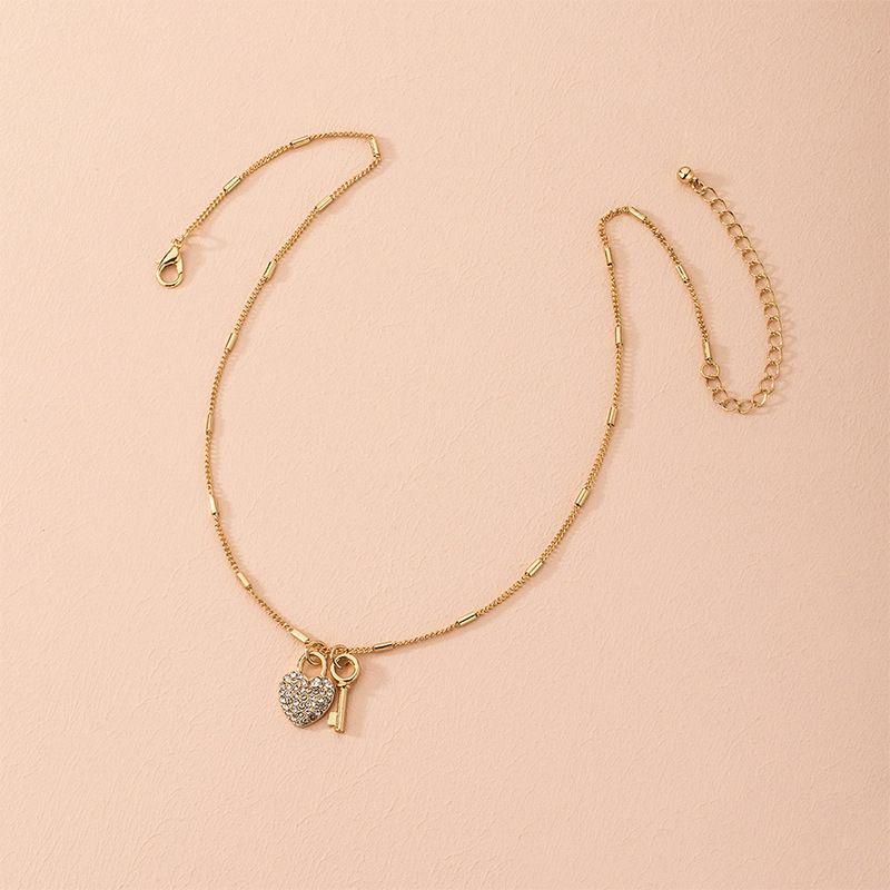 Koreas new full diamond love key necklace simple clavicle chain jewelry wholesale NHAI257331