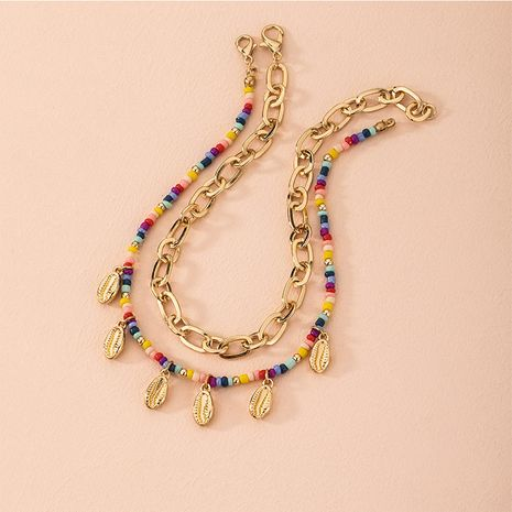 new style Bohemian color beaded ethnic shell thick chain necklace wholesale NHAI257330's discount tags