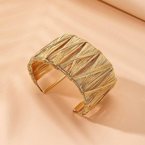 Hot selling fashion popular large gold wide side bracelet wholesale  NHAI257368's discount tags