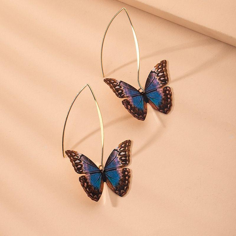 Korean simple printing butterfly women's earrings wholesale NHAI257376