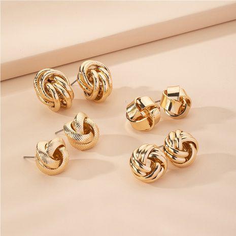 Hot Selling Mode kreative übertriebene Retro Metallic geometrische runde Ohrringe Großhandel NHAI257378's discount tags