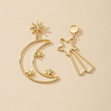 Hot selling popular fashion star and moon earrings wholesale NHGU257400's discount tags