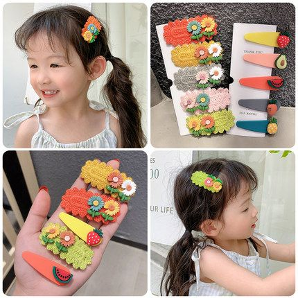 Hot selling children's hair accessories sun flower fruit cute hair clip NHPJ257413's discount tags