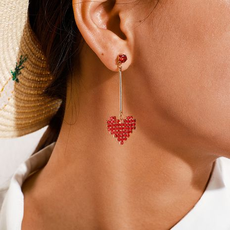 Korea sweet fashion simple big red zircon heart long earrings wholesale NHGY257433's discount tags