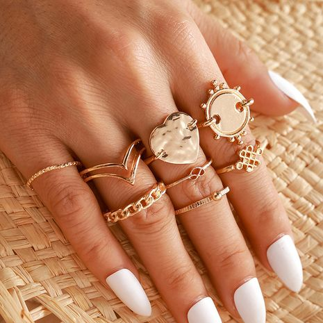 Hot selling Golden personality disc love Chinese knot ring geometric chain heart-shaped 8-piece ring NHGY257438's discount tags